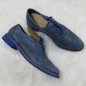 Cole Haan Blue Suede Wingtip Oxford Shoes